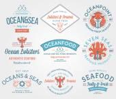 Deniz ürünleri etiketleri ve rozetleri vol. 3 renkli — Stok Vektör
