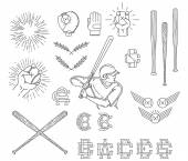 Collection of Baseball symbols — Stock Vector