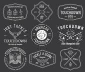 American football badges and crests vol 2 white on black — Stock Vector