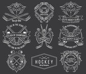 Hockey badges and labels vol. 1 white — Stock Vector