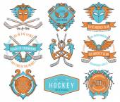 Hockey badges and lables vol. 1 colored — Stock Vector