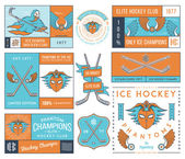 Hockey badges and lables vol. 2 — Stock Vector