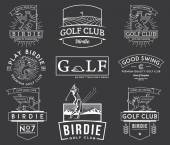 Golf Badges and Labels vol 2 white on black — Stock Vector