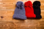 Winter hats with tassel — Stock Photo