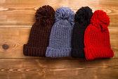 Winter hats with tassel — Stock Photo