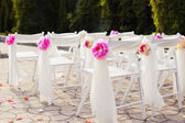 Decorations of wedding chairs, stylish marriage ceremony, bridal day decorations, luxury, soft focus selective — Stock Photo