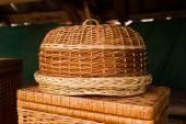 Wicker Empty wooden fruit or bread basket. Beautiful crafts of Ukraine — Stock Photo