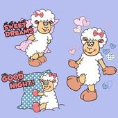 "Vector illustration with funny cartoon lambs, hearts, inscriptions ""good night"" and ""sweet dreams"" in blue and pink tones. Drawing on the topic of sleep and rest. Three charming sheeps with pink bows in different pose isolated on a neutral background — Stock Vector"
