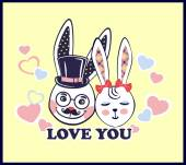 Vector illustration of white bunnies in love — Stock Vector