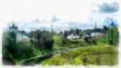 Watercolor Riverside landscape in the Russian province — Stock Photo