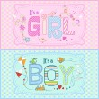Vector illustration of two cute cards for baby boy and baby girl in pink and blue tones — Stock Vector #56263711