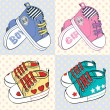 Vector illustration of  little children's sport shoes with stripes for baby girl and baby boy — Stock Vector #56264119