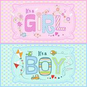 Vector illustration of two cute cards for baby boy and baby girl in pink and blue tones — Stock Vector