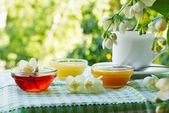 Summer tea with honey under the jasmine bush. — Stock Photo