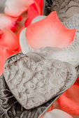 Porcelain Hearts and Rose Peddles — Stock Photo