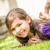 Young Girl on Lawn — Стоковое фото