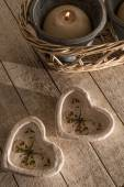 Hearts and Candle — Stock Photo