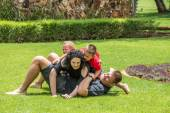 Family Playing on Lawn — Stock Photo
