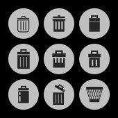 Trash icons — Stock Vector