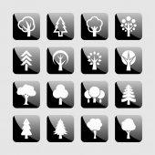 Tree icons — Stockvektor