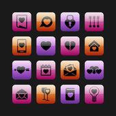Liefde pictogrammen — Stockvector