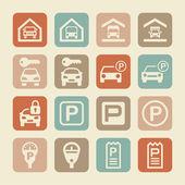 Icone di parcheggio — Vettoriale Stock