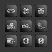 Coin icons — Stock Vector