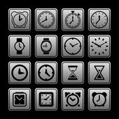Hodiny ikony — Stock vektor