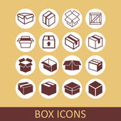 Iconos de caja — Vector de stock