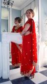 Russian Bride in Indian Style in the Registry Office — Stock Photo