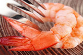 Shrimps with fork — Stock Photo