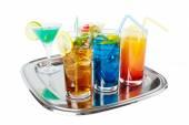 Drinks on tray — Stock Photo