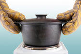 Oven mitts with cauldron — Stock Photo