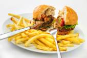 Burger with fries — Stock Photo