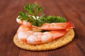 Shrimp saltine cracker — Stock Photo