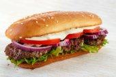 Elongated hamburger — Stock Photo