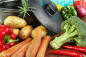 Vegetable ingredients with cast iron pan — Stock Photo
