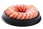 Shrimp ring on plastic platter — Stock Photo