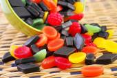 Mixed colorful candies on table — Stock Photo