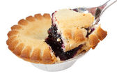 Blueberry pie and spoon — Stock Photo