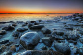 Frosted beach and rocks — Stock Photo