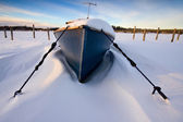 The boat in snow — Stock Photo
