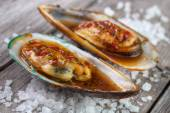 Cooked greenshell mussels — Stock Photo