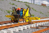 Railroad track installation machine — Stock Photo