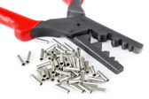 Cable tube terminals with scrimping pliers — Stok fotoğraf