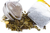 Dry tea and tea bags — Stock Photo
