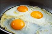 Fried eggs in a pan — Stock Photo