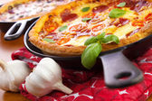 Skillet pan pizzas — Stock Photo