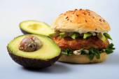 Avocado fish burger — Stock Photo
