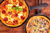 Two pan pizzas — Stock Photo